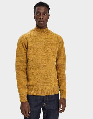 Norse Projects Viggo High Neck Neps Sweater in Mustard Yellow