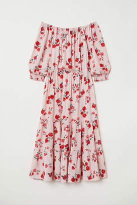 H&M Off-the-shoulder Dress - Antique rose/floral - Women