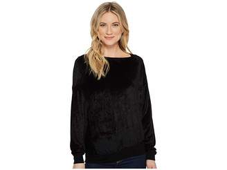 Michael Stars Velvet Long Sleeve Asymmetric Neck Pullover Women's Clothing