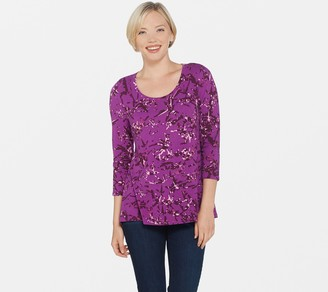 Halston H By H by Bamboo Printed Scoop Neck 3/4 Sleeve Top