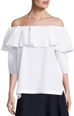 SET Off-The-Shoulder Stretch-Cotton Blouse