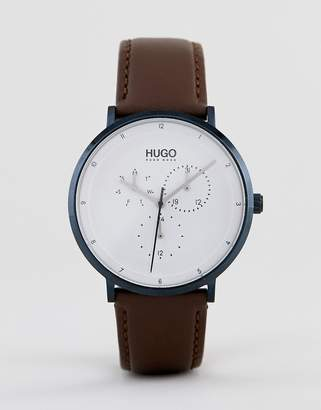HUGO 1530008 Guide leather watch in brown