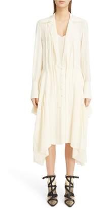 Chloé Handkerchief Hem Pleated Silk Dress
