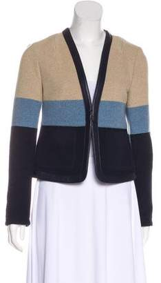 Tory Burch Leather Trim Knit Jacket