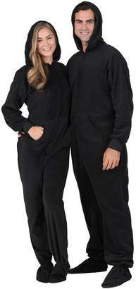 Footed Pajamas - Midnite Adult Hoodie Drop Seat Fleece Onesie- Medium