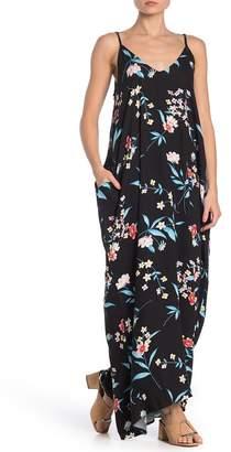 Love Stitch Double V Floral Print Gauze Maxi Dress