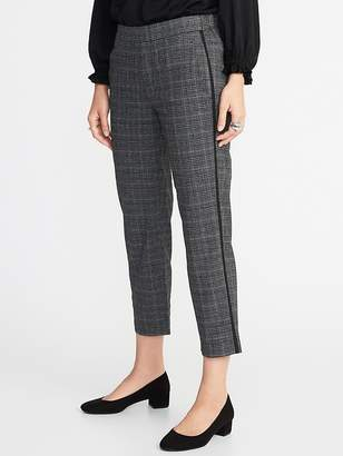 Old Navy Mid-Rise Plaid Side-Stripe Pull-On Trousers for Women