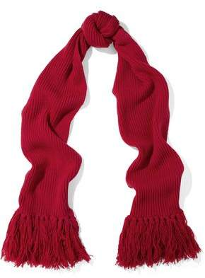 RED Valentino Fringed Ribbed Wool Scarf
