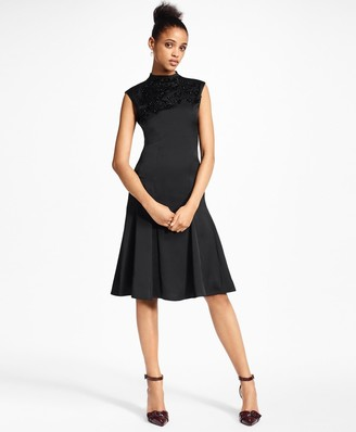 Brooks Brothers Beaded Satin A-Line Dress