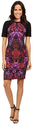 Adrianna Papell Lined Mums Mirage Printed Stretch Crepe Sheath Dress Women's Dress