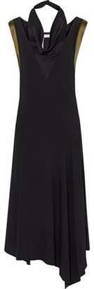 Lanvin Draped Satin-Crepe Midi Dress