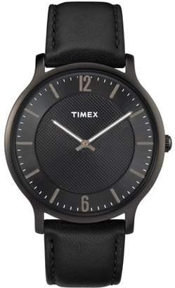 Timex Men's Metropolitan 40mm Black Watch, Leather Strap