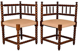 One Kings Lane Vintage Pair of 19th-C. Corner Chairs - Black Sheep Antiques