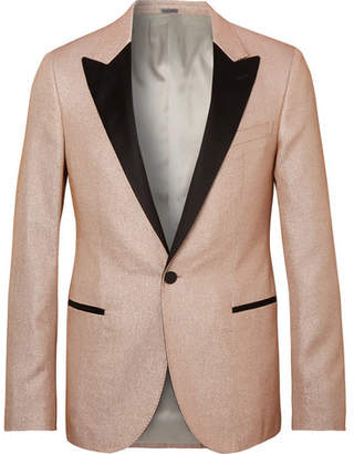 Lanvin Champagne Slim-Fit Satin-Trimmed Glittered Woven Tuxedo Jacket