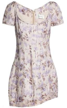 Zimmermann Asymmetric Floral-Print Linen Mini Dress