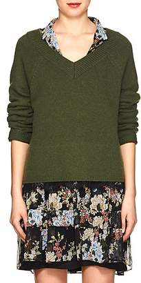 Robert Rodriguez Women's Lace-Accented V-Neck Sweater - Green