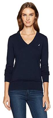 Nautica Women's Long Sleeve V-Neck Sweater