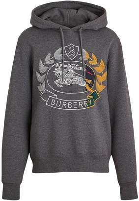 Burberry Embroidered Crest Jersey Hoodie