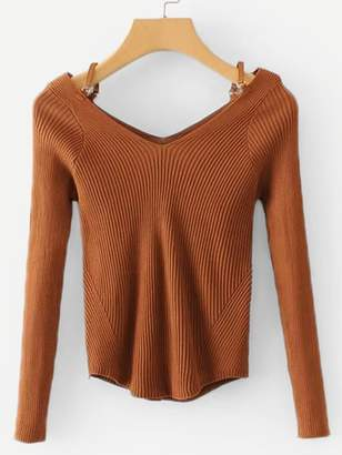 Shein Double V Neck Rib Knit Sweater