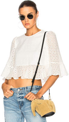 ALEXACHUNG Cropped Frill Top