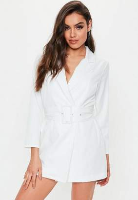 67113875f56bd Missguided Petite White Belted Blazer Dress