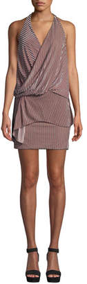 MISA Los Angeles Valere Striped Velvet Draped-Front Halter Dress