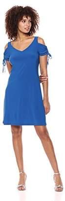 MSK Women's V-Neck Cold Shoulder Flutter Sleeve Ruched Dress