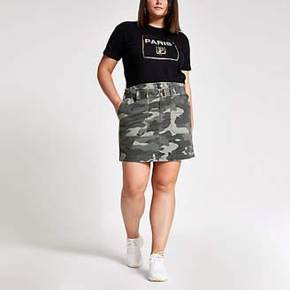 River Island Plus khaki camo paperbag utility skirt