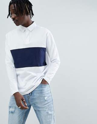 Asos Design DESIGN relaxed fit rugby polo with long sleeves and contrast panel