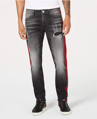 Jack and Jones Men's Glenn Slim-Straight Fit Side Stripe Ripped Jeans