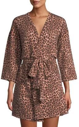 Neiman Marcus Cashmere Leopard-Pattern Short Robe