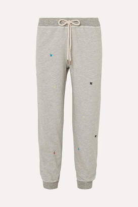 The Great The Cropped Embroidered Cotton-blend Jersey Track Pants - Light gray