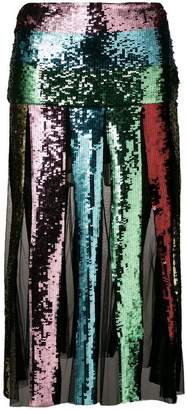 Circus Hotel striped sequin skirt