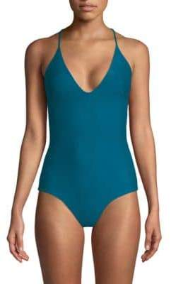 Mikoh Las Palmas Full Coverage Cross-Back One-Piece Swimsuit