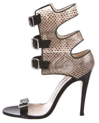 Manolo Blahnik Snakeskin Ankle Cuff Sandals