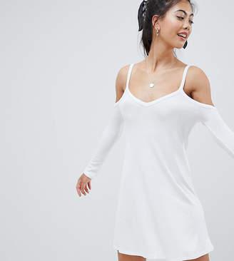 Asos DESIGN Petite cold shoulder mini swing dress