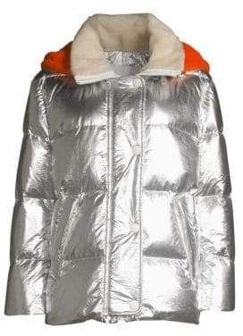 Yves Salomon Army by Shearling Hood Metallic Puffer Jacket