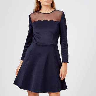 6816046b74e7 Ted Baker Women s Kikoh Mesh Panelled Skater Dress