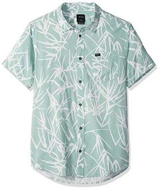 RVCA Men's Bamboo Short Sleeve Woven Button Down Shirt