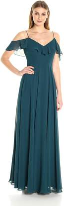 Jenny Yoo Women's Mila Ruffle Cold Shoulder Long Chiffon Gown