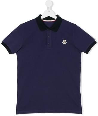 Moncler Teen logo patch polo shirt