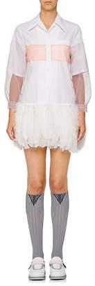 Prada Women's Feather-Embellished Cotton Shirtdress