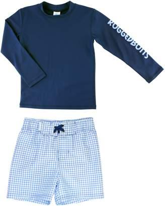 RuggedButts Long Sleeve Rashguard & Gingham Board Shorts Set
