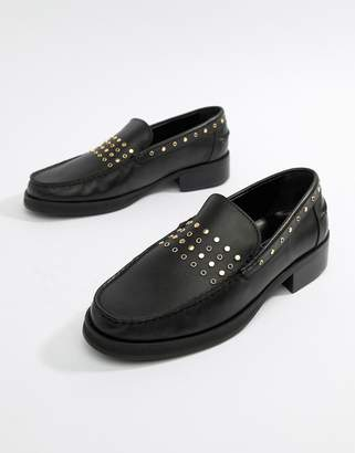 Asos Edition EDITION loafers in black leather with studding detail
