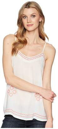 Roper 1623 White Rayon Tank with Embroidery Women's Clothing