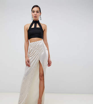 Asos Tall DESIGN Tall ruched sequin jersey maxi skirt