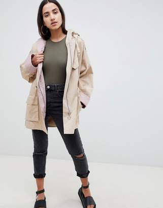 Asos Design DESIGN waterfall parka with contrast liner