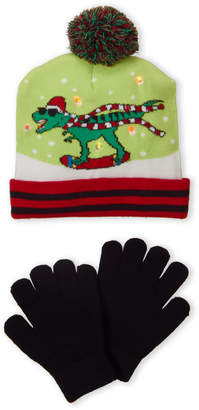 Capelli New York (Boys 4-7) Two-Piece Holiday Dinosaur LED Hat & Gloves Sat