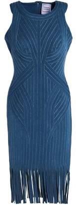 Herve Leger Khloe Fringed Metallic Bandage Dress
