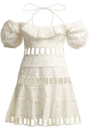 Zimmermann Heather Off The Shoulder Mini Dress - Womens - Ivory